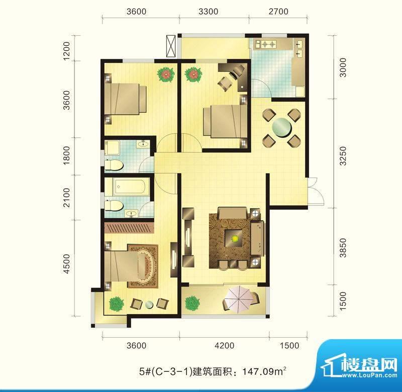 新元绿洲户型图5号楼C-3-1户型面积:147.09平米