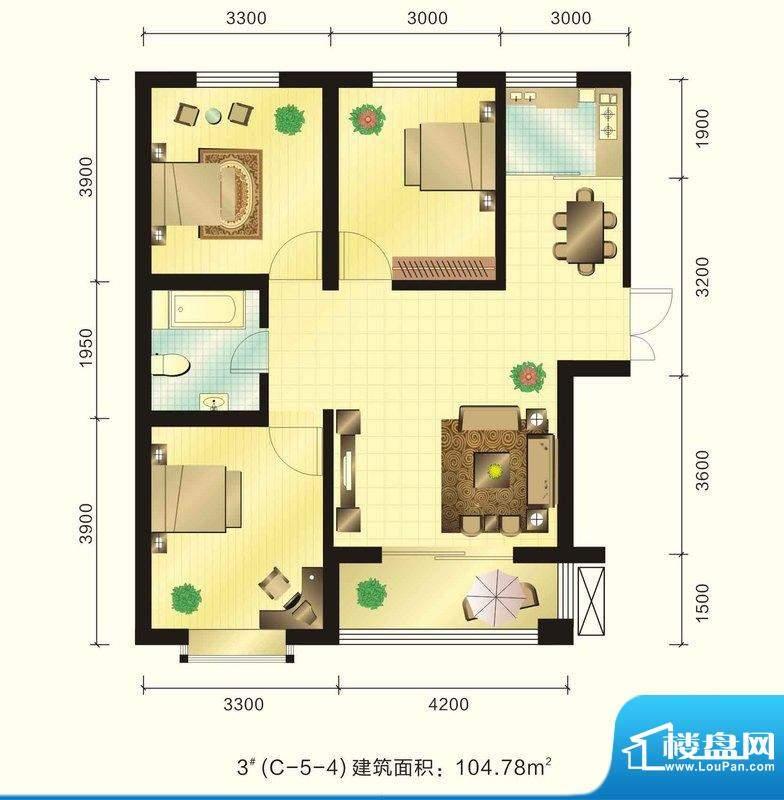 新元绿洲户型图3号楼C-5-4户型面积:104.78平米