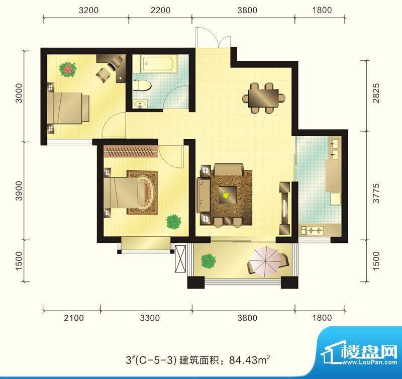 新元绿洲户型图3号楼C-5-3户型面积:84.43平米
