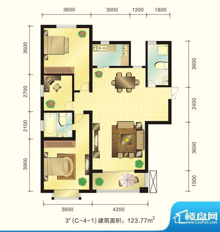 新元绿洲户型图3号楼C-4-1户型面积:123.77平米