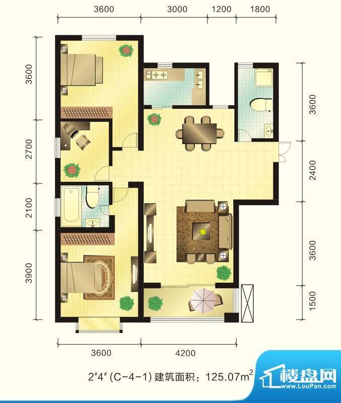 新元绿洲户型图2、4号楼C-4-1户面积:125.07平米