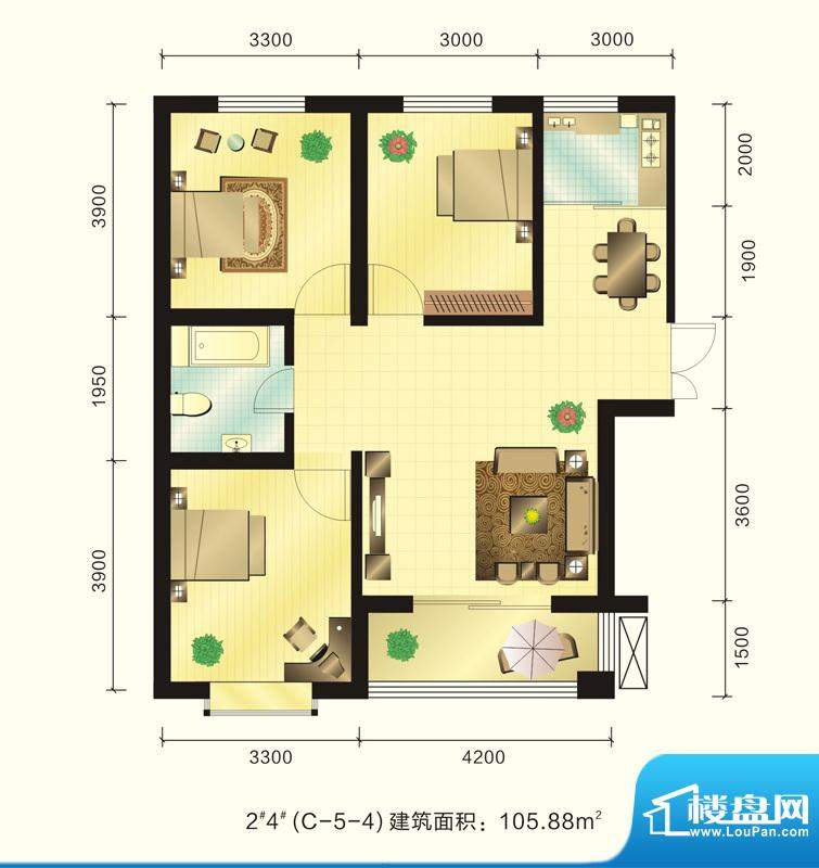新元绿洲户型图2、4号楼C-5-4户面积:105.88平米