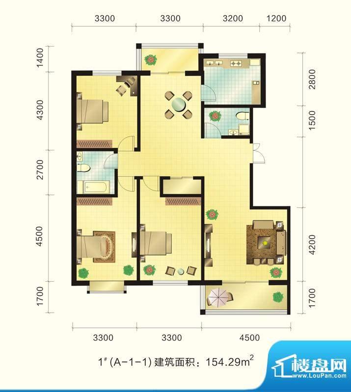 新元绿洲户型图1号楼A-1-1户型面积:154.29平米