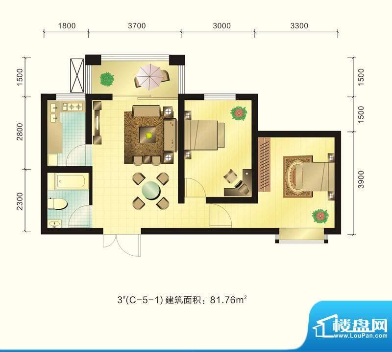 新元绿洲户型图3号楼C-5-1户型面积:81.76平米