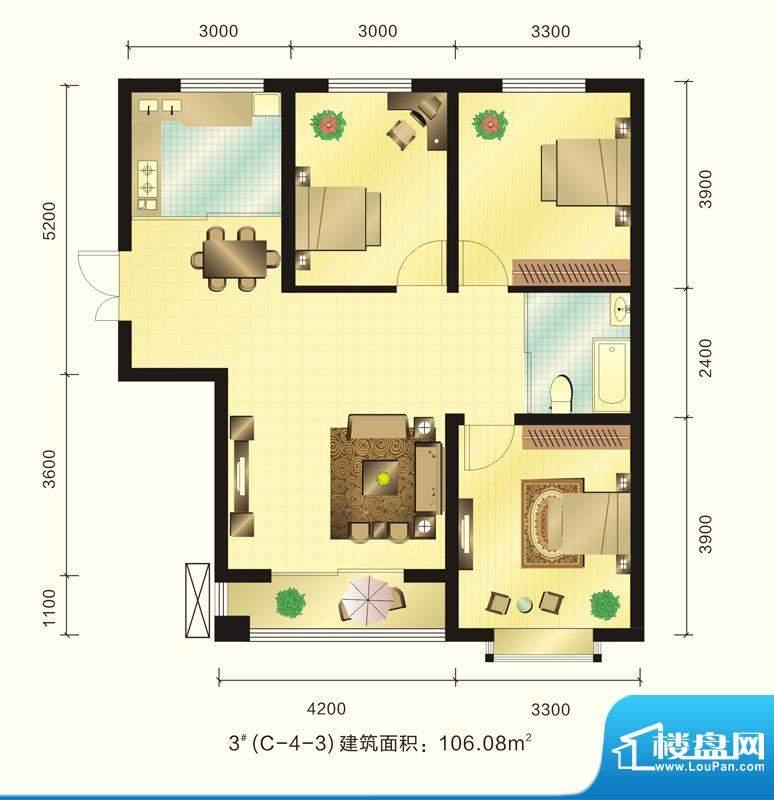 新元绿洲户型图3号楼C-4-3户型面积:106.08平米