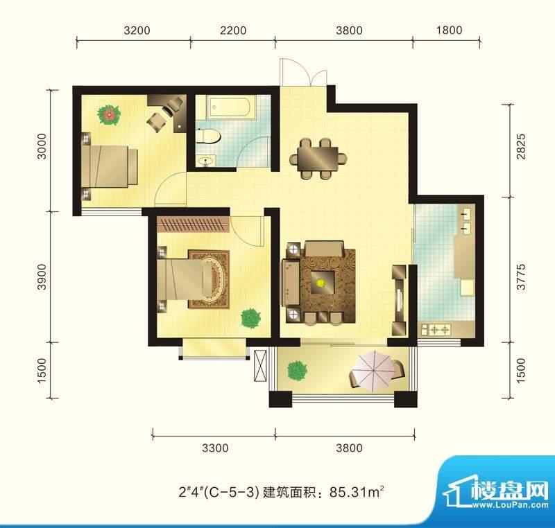 新元绿洲户型图2、4号楼C-5-3户面积:85.31平米