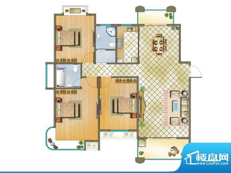 国金印象户型图二期 6#楼标准层面积:128.00平米