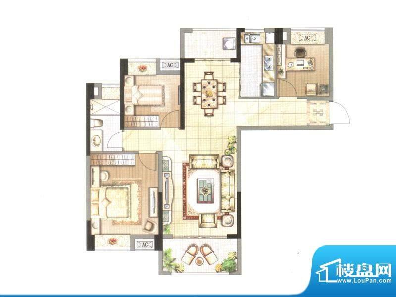 中央香榭户型图一期高层5#V2楼面积:110.08平米