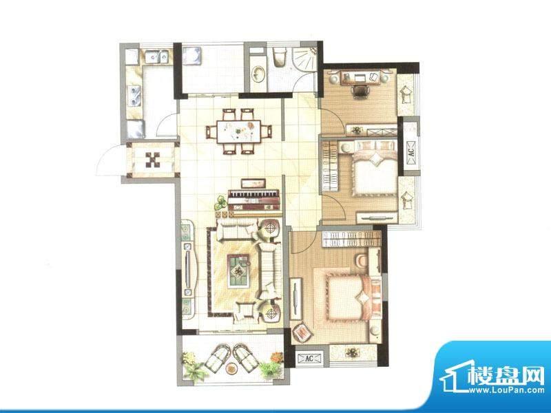中央香榭户型图一期高层5#楼V户面积:111.19平米