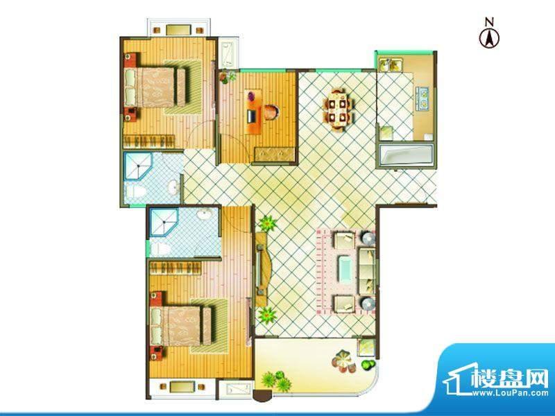 国金印象户型图二期 4#楼标准层面积:111.00平米
