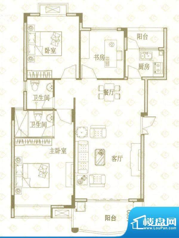 国金印象户型图一期1、2#楼标准面积:95.00平米