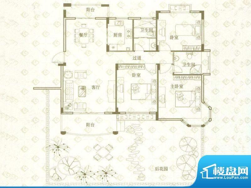 国金印象户型图一期3#楼标准层面积:118.00平米