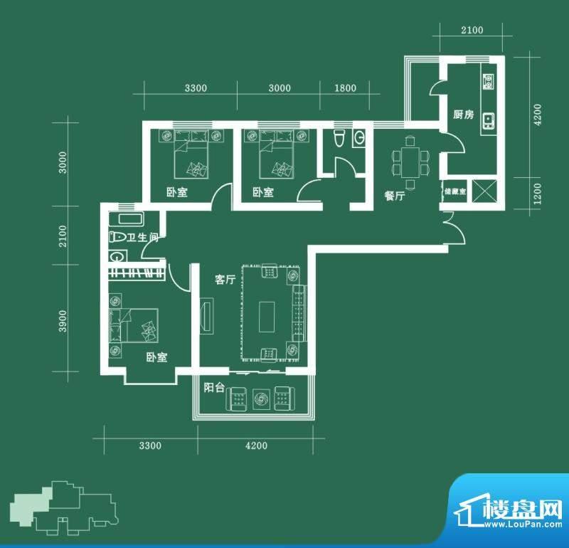 西固人家户型图A1户型 3室2厅2面积:133.11平米