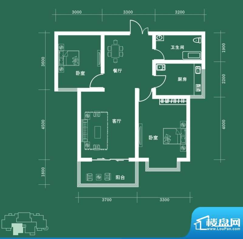 西固人家户型图B2户型 2室2厅1面积:91.95平米