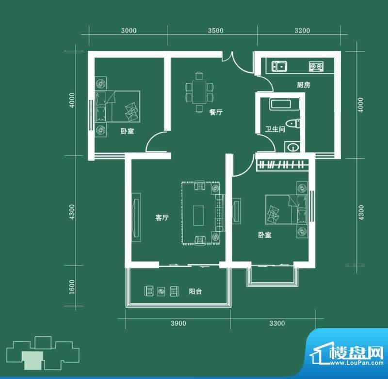 西固人家户型图C2户型 2室2厅1面积:95.63平米