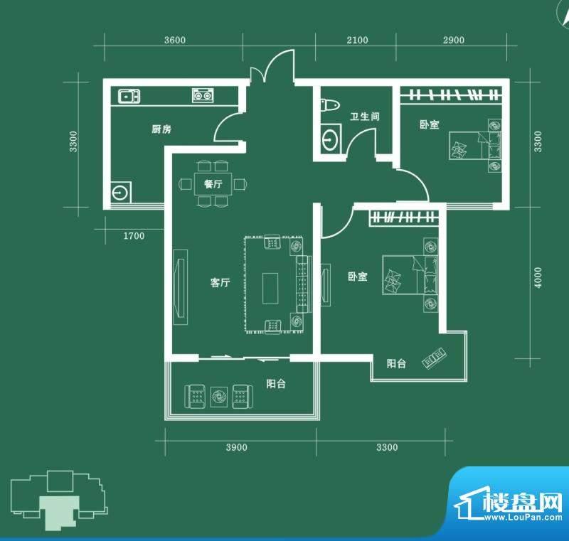 西固人家户型图D2户型 2室2厅1面积:91.90平米