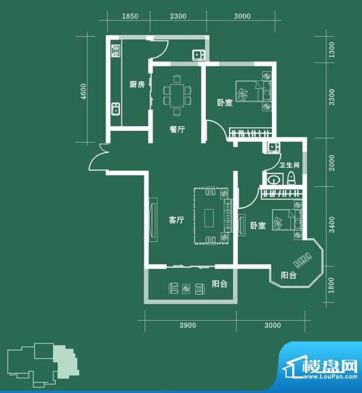 西固人家户型图D3户型 2室2厅1面积:101.30平米