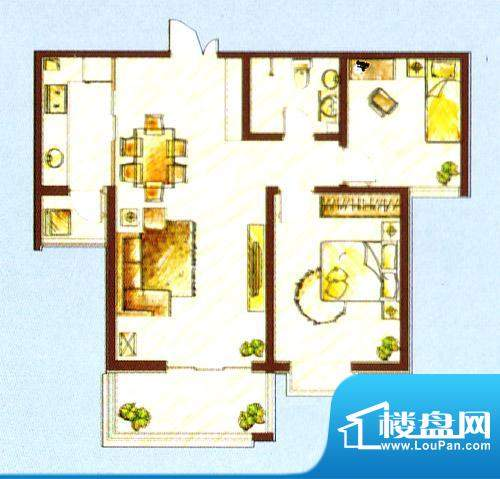 西固人家户型图A3户型 2室2厅1面积:95.28平米