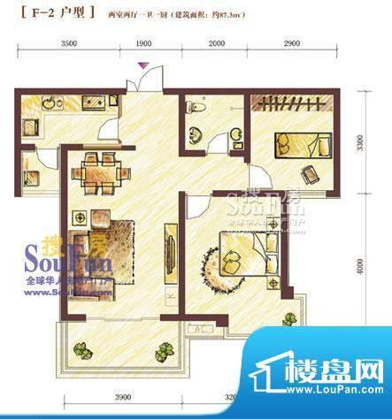 西固人家户型图F-2型2室2厅1面积:87.30平米