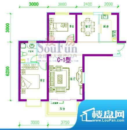西固人家户型图C-1型 2室2厅1卫面积:95.44平米