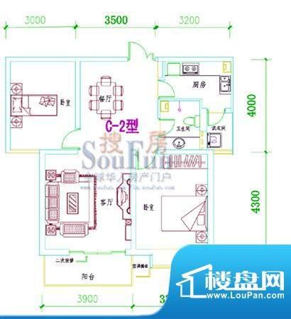 西固人家户型图C-2型 2室2厅1卫