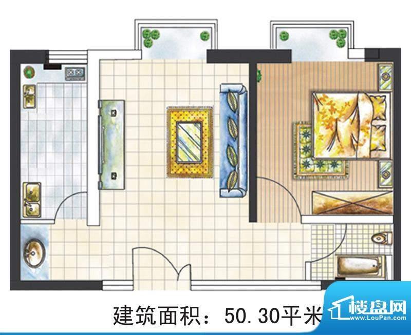 亚太嘉园户型图3号楼50.3㎡ 1室面积:50.30平米