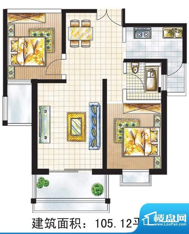 亚太嘉园户型图3号楼105.12㎡ 面积:105.12平米