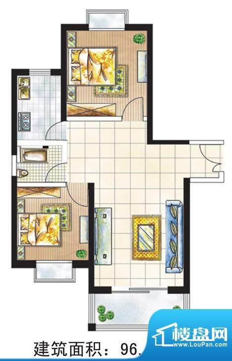 亚太嘉园户型图3号楼96.39㎡ 2面积:96.39平米