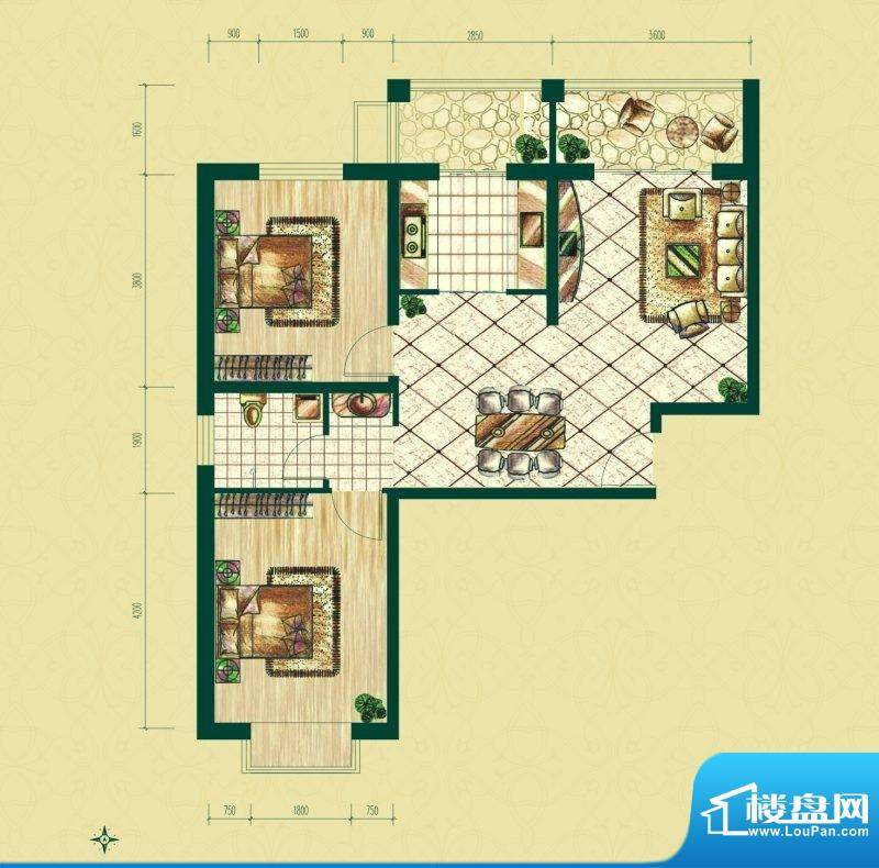 银泰逸翠园户型图一期B1户型 2面积:92.71平米