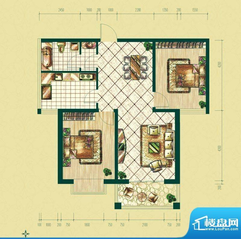 银泰逸翠园户型图一期B2户型 2面积:96.21平米