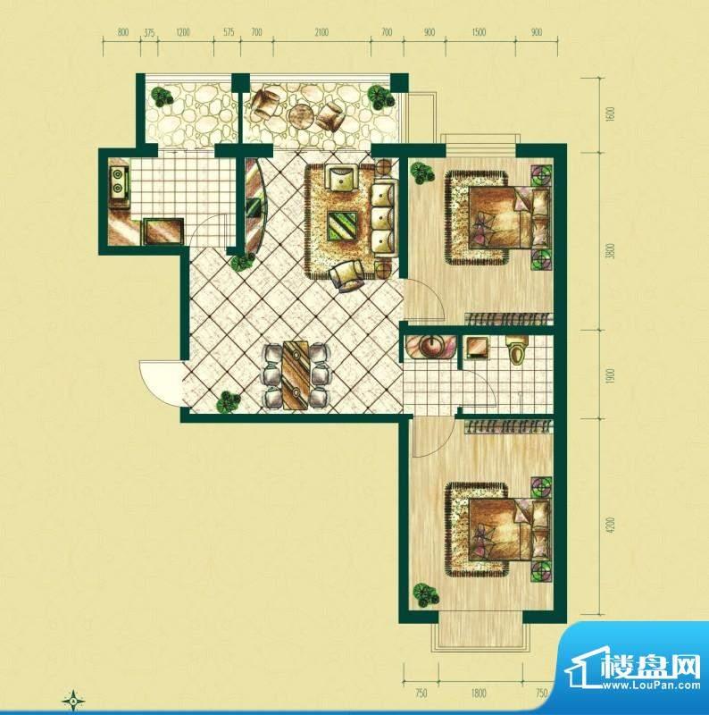 银泰逸翠园户型图一期B3户型 2面积:88.50平米