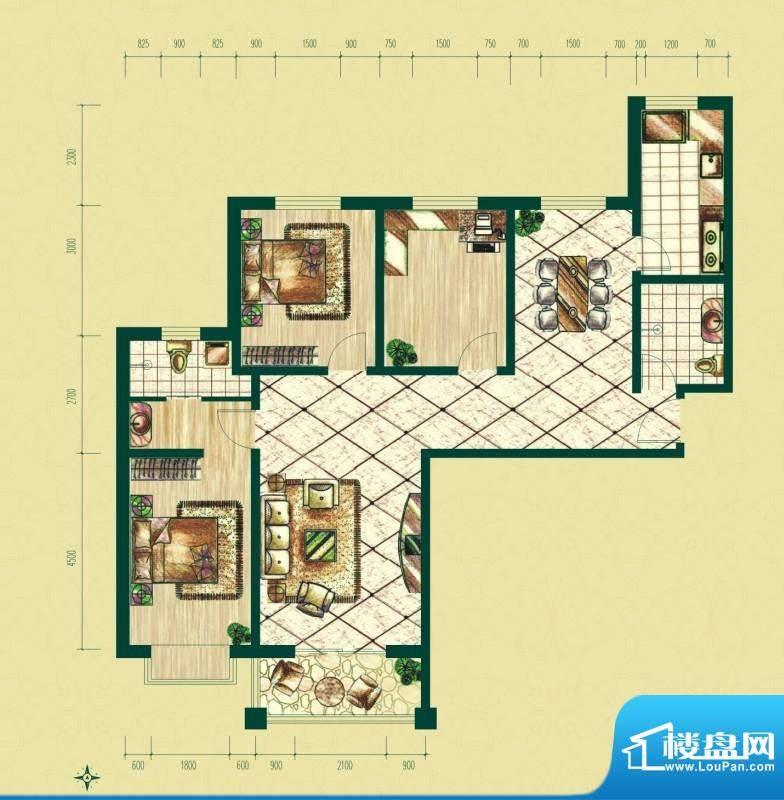 银泰逸翠园户型图一期C1户型 3面积:138.51平米