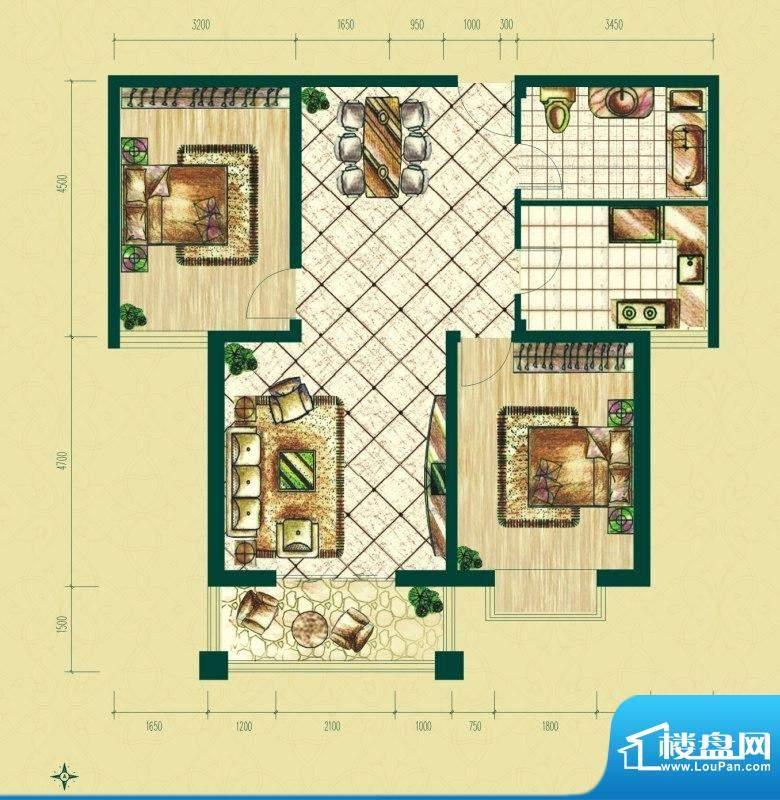 银泰逸翠园户型图一期C2户型 2面积:105.00平米