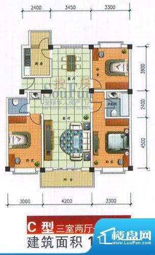 九洲城户型图C型 3室2厅2卫1厨面积:136.00平米