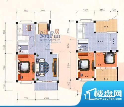 九洲城户型图G/H户型跃层 3室3面积:155.00平米