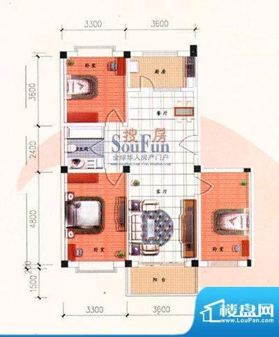 九洲城户型图E户型 3室2厅1卫1面积:108.00平米