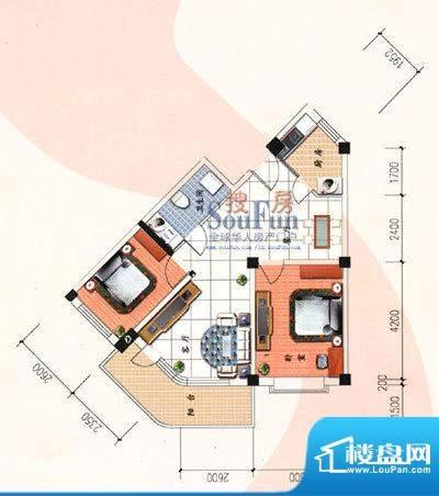 九洲城户型图D户型 2室2厅1卫1面积:84.00平米