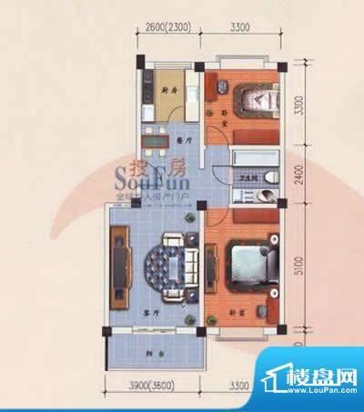 九洲城户型图B/C户型 2室2厅1卫面积:89.00平米