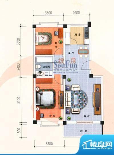 九洲城户型图A户型 2室2厅1卫1面积:95.00平米