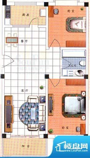 九洲城户型图F户型 2室2厅1卫1面积:99.00平米