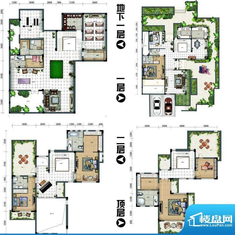天沐君湖户型图2#双拼别墅SP4-面积:468.00平米