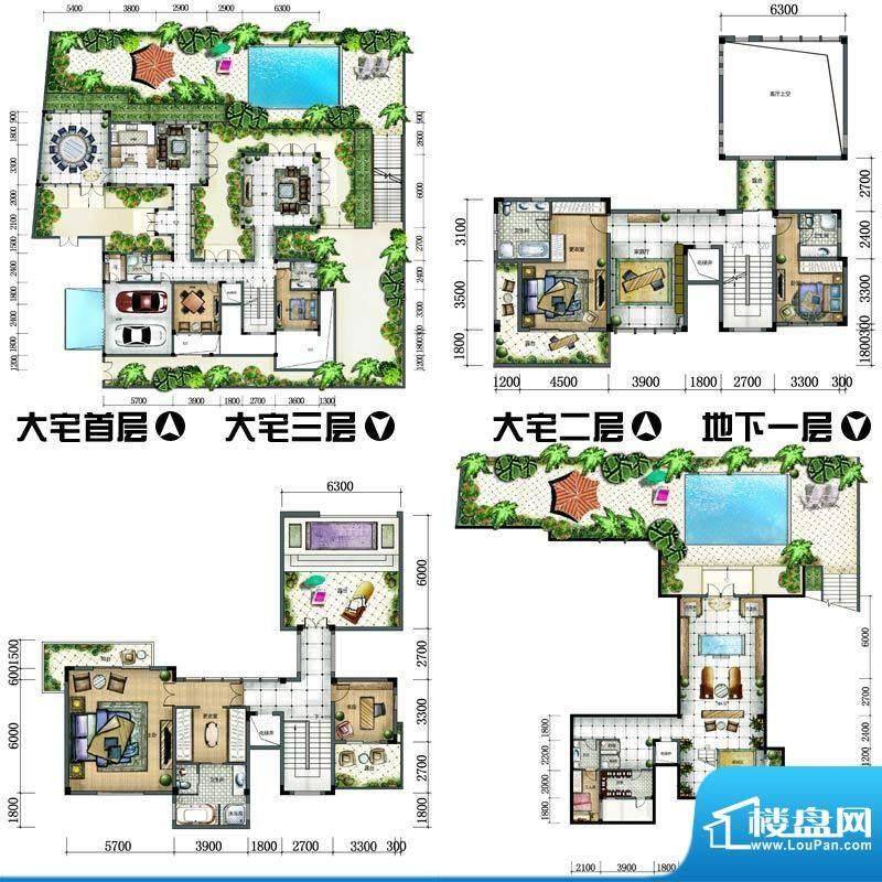 天沐君湖户型图大宅4-01G户型 面积:624.00平米