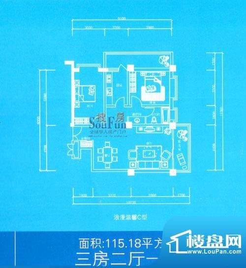 兰雅亲河湾户型图浪漫温馨C型 面积:115.18平米
