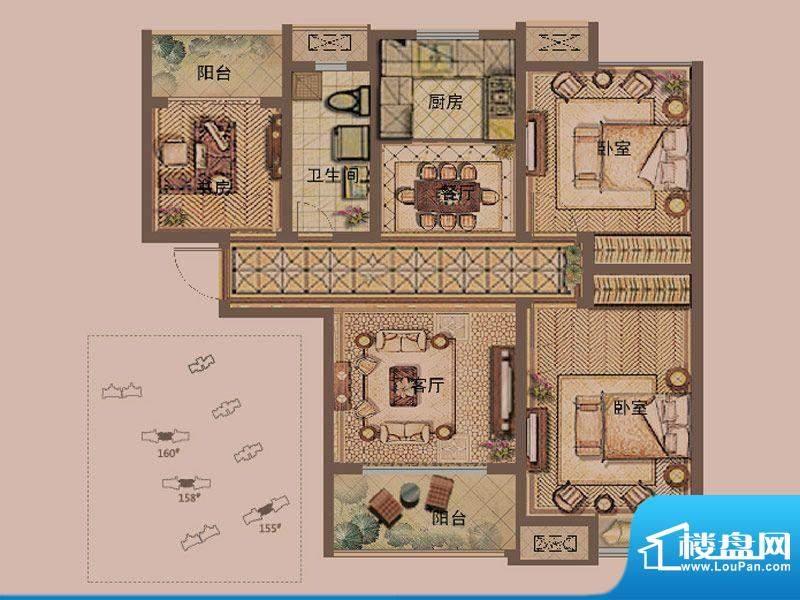 保利海上罗兰户型图高层B3户型面积:105.00平米