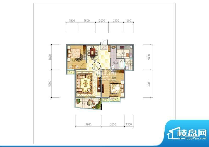 朗晴园户型图一期多层5#楼n户型面积:85.00平米