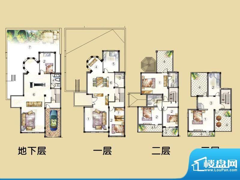 凯美艾溪湖户型图双拼别墅J户型面积:283.83平米