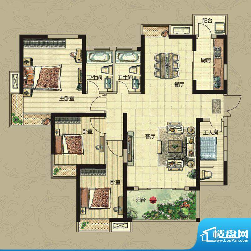 南昌华南城户型图一期2#、4#、面积:124.00平米