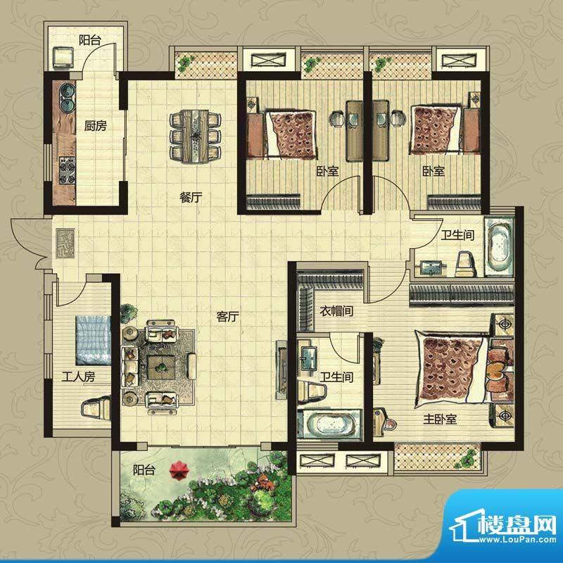 南昌华南城户型图一期2#-12#楼面积:124.00平米