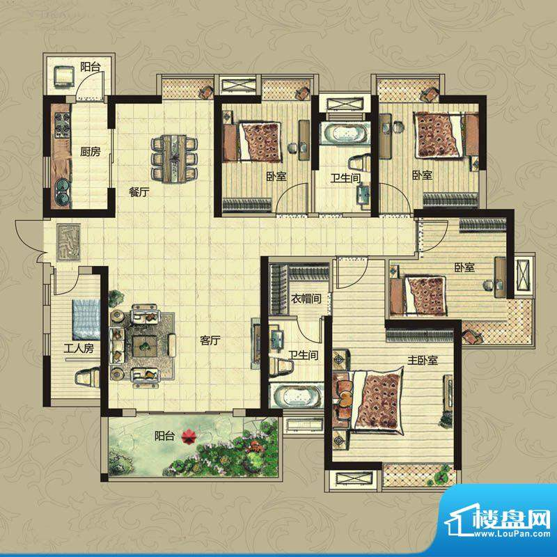 南昌华南城户型图一期3#、5#、面积:143.00平米