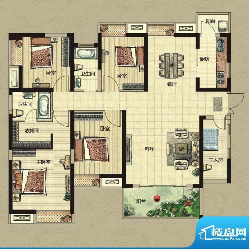南昌华南城户型图一期4#、6#、面积:143.00平米
